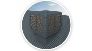 Roof mounted evaporative cooling unit Melbourne Airport