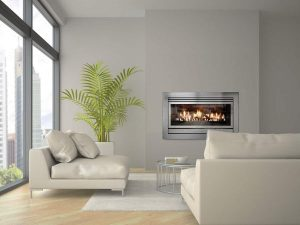 illusion gas log fire in white lounge room melbourne