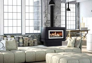 illusion gas log fire in lounge room